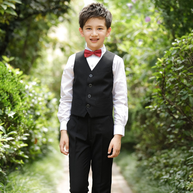 2018 New models Boys Formal Suit Wedding campus student Dress Gentleman  Kids Waistcoat Shirt Pant Bowtie 4Pcs ceremony Costumes 84242ba1f