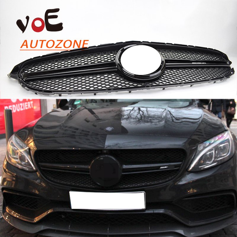 W205 Change to AMG Style Front Bumper Grill Grille with Radar Hole for 2015 2016 Mercedes-Benz W205 Coupe C180 C200 C220 C250