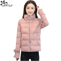 UHYTGF2018 Winter Woman Coat Down Cotton Jacket Warm Tops Plus size Fashion Park Woman Short Long sleeve Standing Collar Coat423