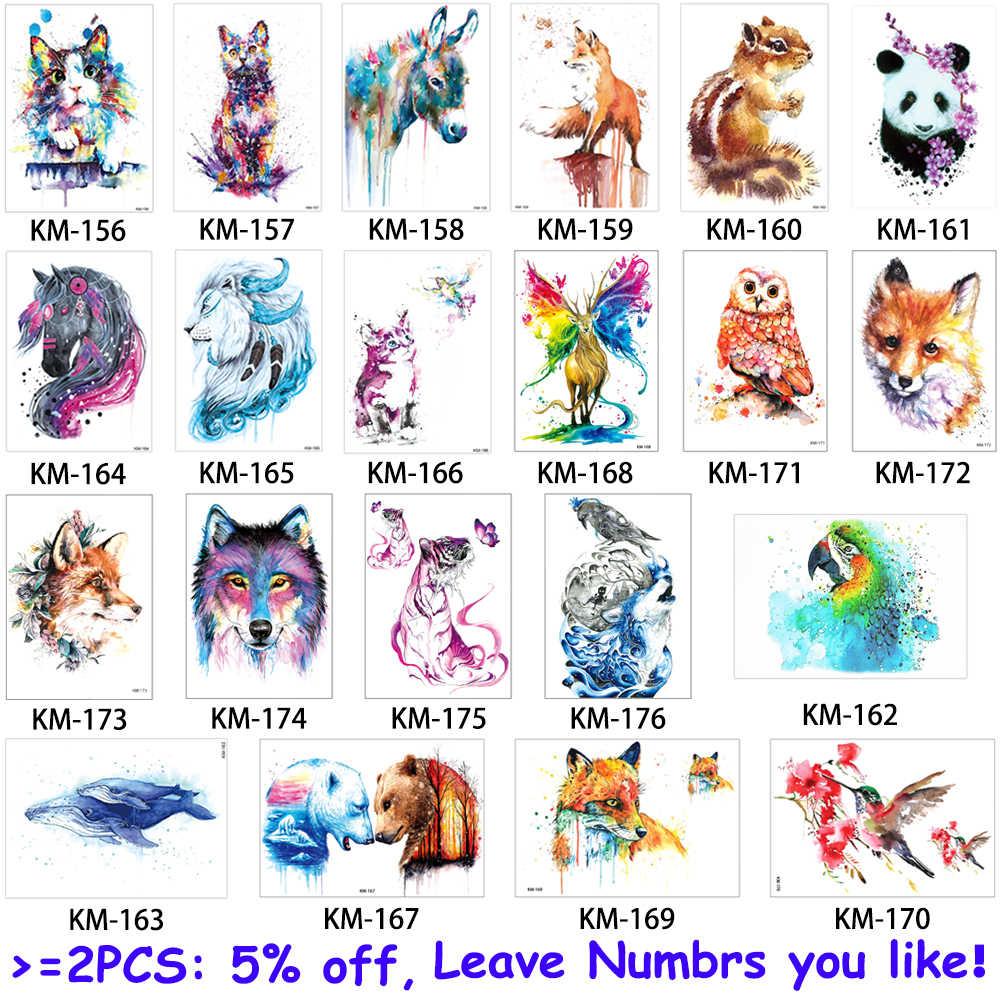 48d68a55d ... glaryyears 24 Designs 1 Sheet Watercolor Drawing Animal Tattoo Sticker  Owl Panda Pattern Decal Fake Beauty ...