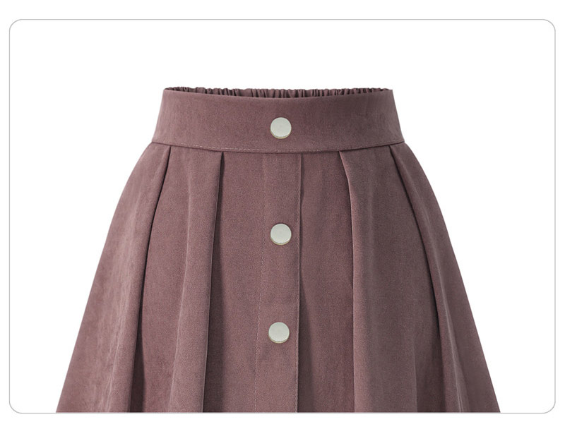 HDY Haoduoyi Pleated Skirts Button High Waist Elastic Mid Skirt Korean Style Women Skirts Fashion New 2018 Autumn Winter Bottom 16