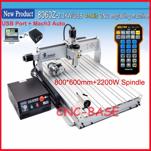 USB port ! 4 axis 8060 cnc router ( 2.2KW spindle )  cnc engraver engraving / wood carving router / PCB milling machine mach3 cnc 3020 router wood pcb engraving driling and milling machine cnc3020 500w spindle motor