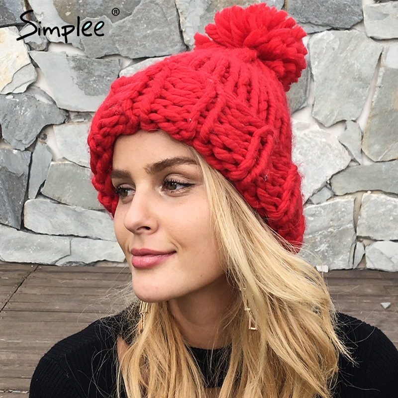 Simplee Knitting wool ball skullies beanies Casual streetwear warm hat cap Women autumn winter 2017 cute beanie hat female skullies