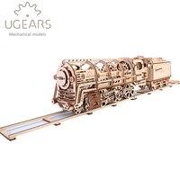 DIY деревянный поезд механические Трансмиссия Модель Ассамблея Puzzle игрушки 433 шт.