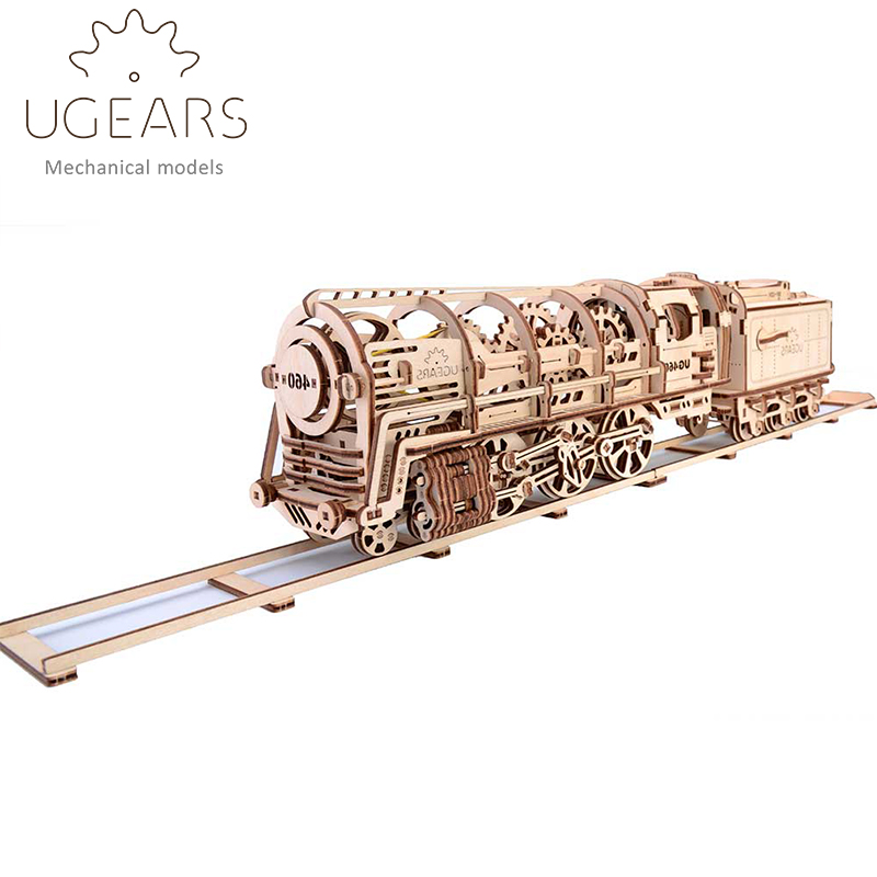 DIY Wooden Train Mechanical Transmission Model Assembly Puzzle Toy 433pcs