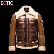 2 COLOR Men fashion down jacket Retro sheepskin sleeves coat Keep warm comfortable overcoat XS-XXXL