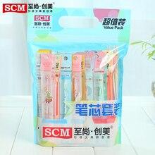 100 шт./лот SCM корейские креативные милые канцелярские принадлежности для учеников стержни для гелевых ручек 0,35 мм 0,38 мм 0,5 мм случайные стержни Бесплатная доставка