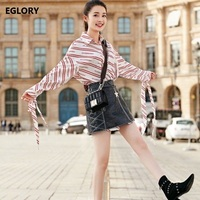 New 2018 Spring Clothing Sets Women Letter Print Long Shirts High Quality PU Leather Suede Mini