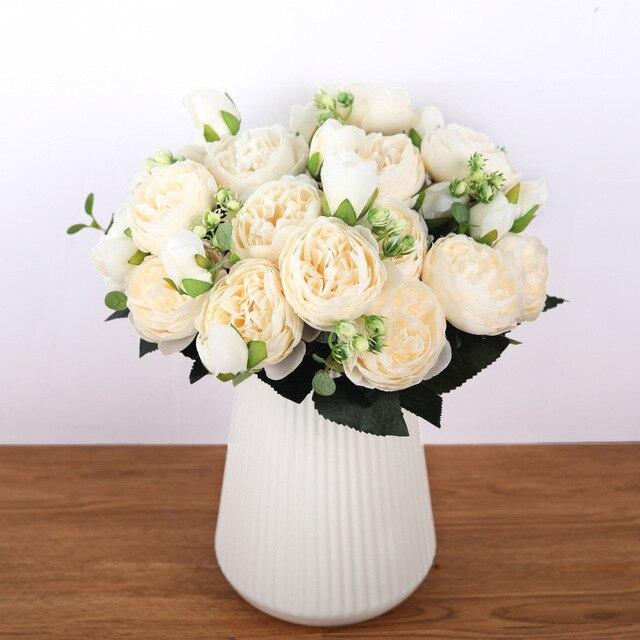 Ramo de peonías artificiales de seda rosa de 30cm 5 cabezas grandes 4 pequeños brotes novia boda decoración del hogar flores falsas Faux