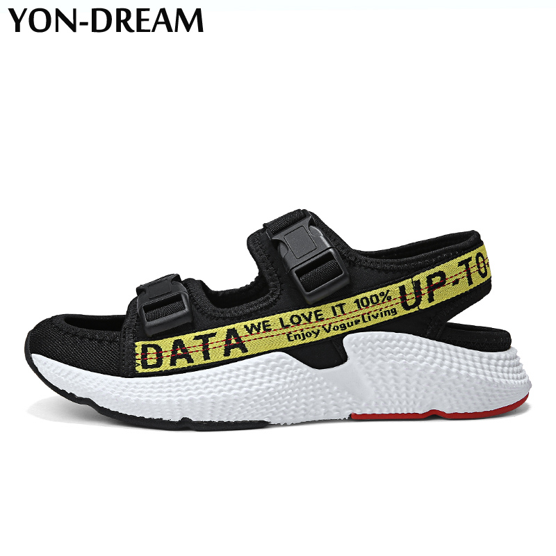 YON-DREAM 2018 Summer Men Shoes Sandals sepatu pria sandalet Top Quality Letter Buckle Strap sandalias hombre Sandal Casual Shoe