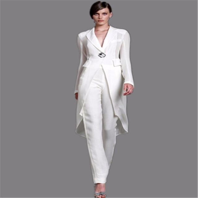 2016 Plus Size Mother Of The Bride Pant Suits With Jacket White Crystal Party Dresses Elegant