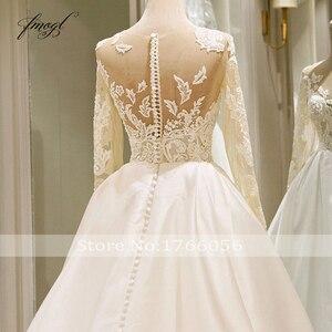 Image 5 - Fmogl Vestido De Noiva Long Sleeve Vintage Wedding Dresses 2020 Sexy Appliques Chapel Train Matte Satin Lace Bride Gowns