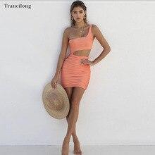Trancilong 2019 Sexy One Shoulder Wrapped Mini Summer Dress Cutout Sleeveless Skinny Pleated Womens Split