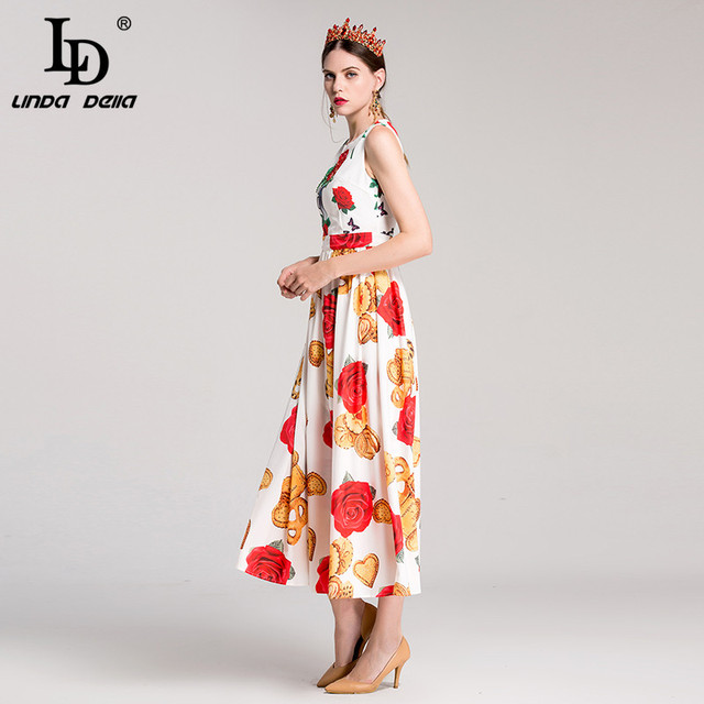 Sleeveless Rose Floral Print Elegant Long Dress