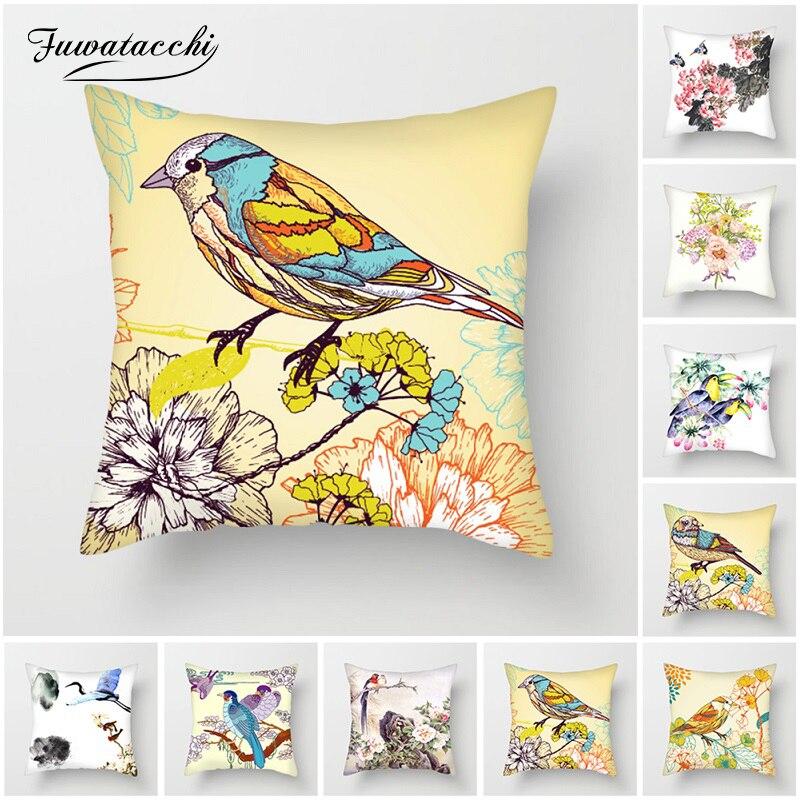 Fuwatacchi Aves Pintura Travesseiro Cobre Capas de almofadas para o Sofá de Casa Da Flor Da Ameixa Cadeira Decorações Flores Paisagem Fronhas