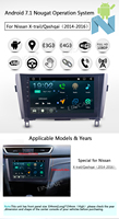 Android 7.1 10.1 inch in Dash Car Stereo for nissan QashQai/X Trail Radio Multi touch Screen GPS Navigation Support Canbus