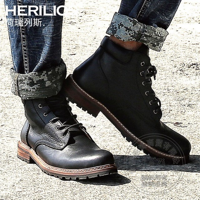 Vintage Round Toe Martins Casual Shoes Men Winter Warm Cowhide Euro Fashion Mens Genuine Leather Boots Thread Flat Lace-up Solid