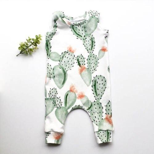 Bebê recém-nascido da criança dos desenhos animados cactus meninos meninas bodysuit macacão roupas