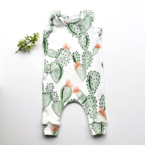 Newborn Toddler Baby Cartoon Cactus Boys Girls Bodysuit Jumpsuit Outfits Clothes