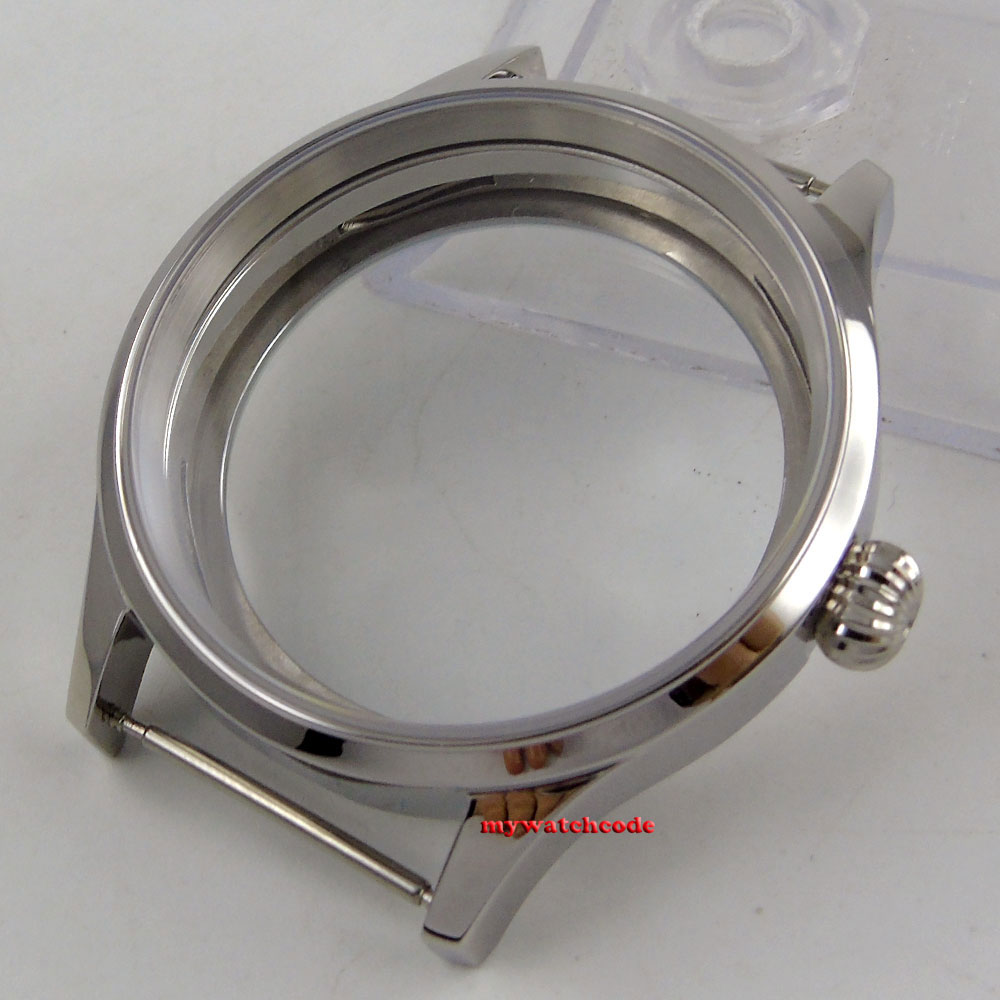 Polished 43mm sterile steel Watch CASE sapphire glass fit 6498 6497 movement 144 46mm polished rose golden stainless steel watch case fit 6498 6497 movement c144