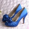 Wedopus Супер Качество Цветок Peep Toe Высокий Каблук 10 см Свадебные Вечерние Обувь Синий Большой Размер