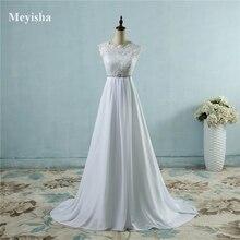 ZJ9058 Hot Sale Beach crystal Chiffon Wedding Dresses 2019 Empire Beaded Bohemian Bridal Gowns Plus size