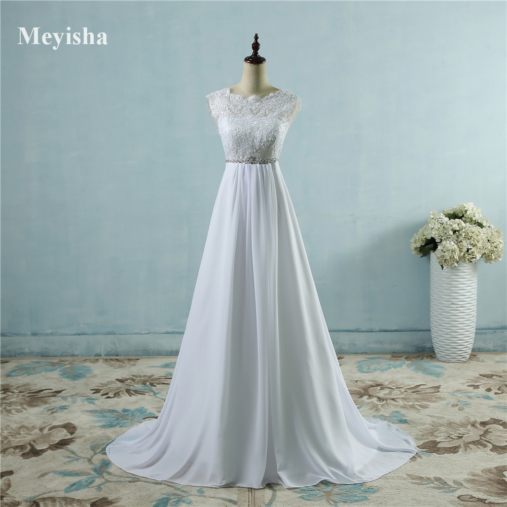 2da85a441a ZJ9058 Hot Sale Beach crystal Chiffon Wedding Dresses 2019 Empire Beaded  Bohemian Bridal Gowns Plus size