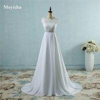 ZJ9058 Hot Sale Chiffon Beach crystal Wedding Dresses Vestidos de Novia Empire Beaded Bohemian Bridal Gowns with train size
