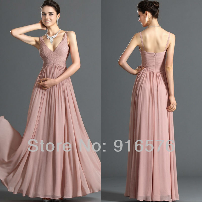Us 86 0 Bridemaid Dresses Wedding Guest Dress Prom Gown Floor Length Spaghetti Strap V Neckline Empire Pleat Zipper In Bridesmaid Dresses From