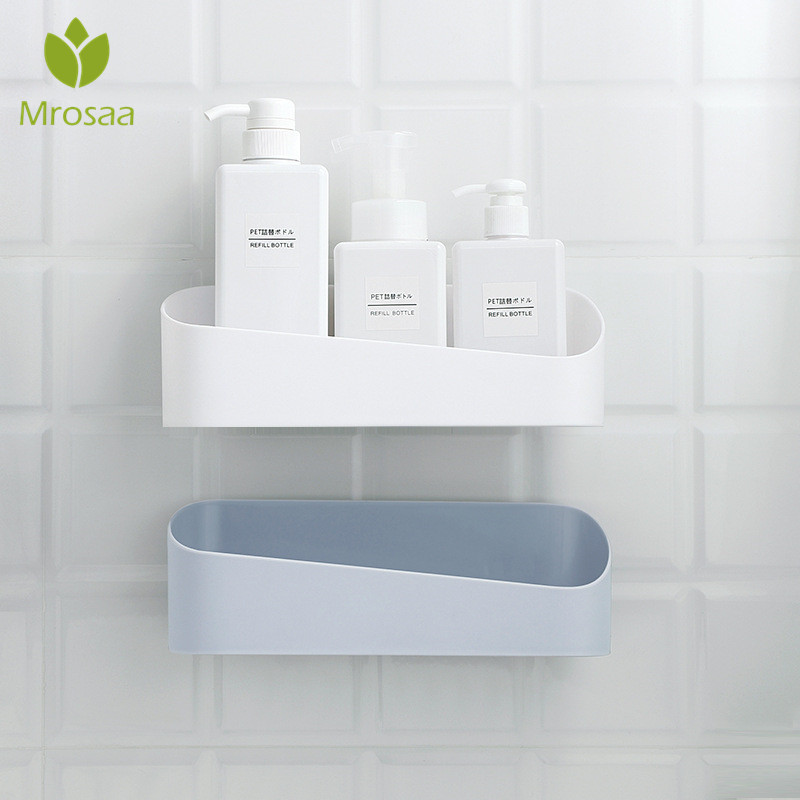 Bathroom Storage Box Cosmetic Wall Mount Shampoo Shower Lotion Organizer Kitchen Sink Toilet Shelves Case Holder Punch-free