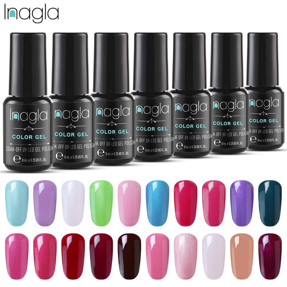 Inagla Gel Varnishes 8ML Nail Art Pure Color UV Lacquer Need Base Top Gel Nail Polish Nail Art For a Manicure Nail Art