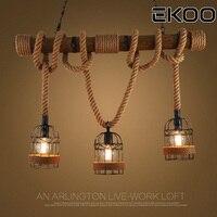 EKOO Industrial Farmhouse Iron Wooden Pendant Light Edison E26/27 Cafe Bar Vintage Style for living room Parlor Study