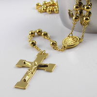 High Quality Fashion Men Women Cross Necklace Charms Gold Titanium Steel Ball Chain Rosary Beads Pendant