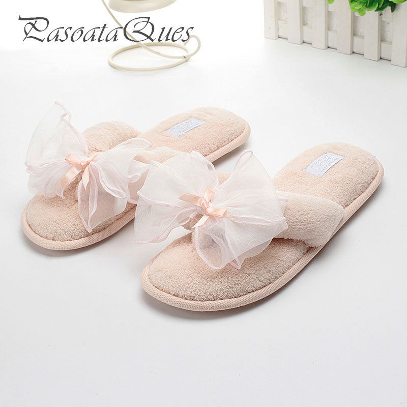 Newest Spring Indoor Women Flip Flops Bowtie Comfortable Breathable Summer Flock Home House Women Slippers Pasoataques Brand new hello kitty spring summer slippers comfortable breathable linen house home indoor women shoes pasoataques brand