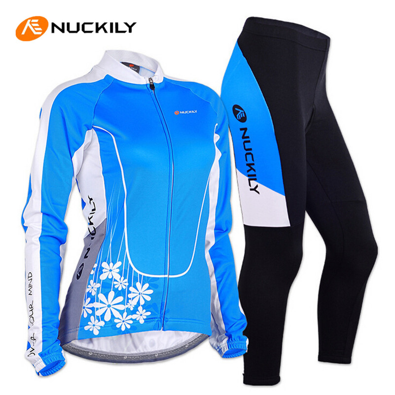 цена на NUCKILY Women Cycling Jersey Long Sleeve Jacket Gel Pad Pants Sportswear Clothing Roupa MTB Bike Bicycle Cycling Jersey Set