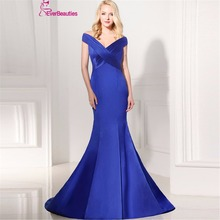 Robe De Soiree Hot Sell Abendkleider Avondjurk V-neck Floor Length Women Mermaid Royal Blue Long Evening Dress 2017 for Party