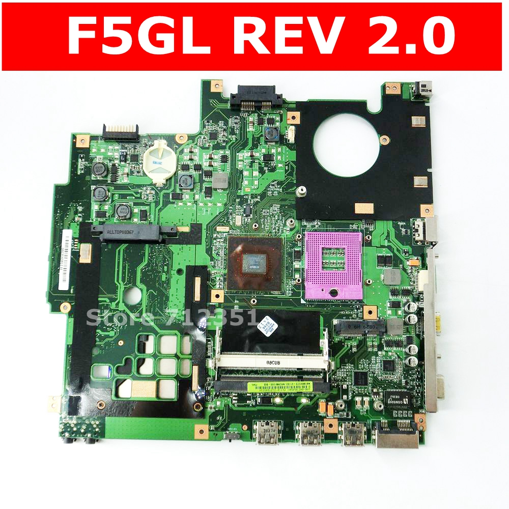 F5GL Mainboard REV 2.0 For ASUS F5GL X59GL X50GL Laptop Motherboard MCP79MVL-B3  100% Tested Working Well Free Shipping