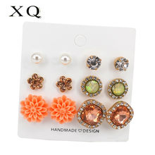 XQ Stud Earring Set 6 Pairs / Card Orange Flower Square Round White Acrylic Imitation Pearl Zinc Alloy Jewelry Woman Accessories(China)
