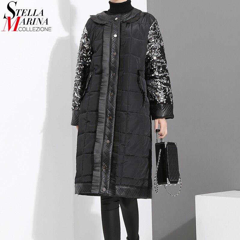 New 2018 Winter Women Oversize Long Black   Parka   Long Sleeve With Sequins Female Warm Thick Style Jacket Coat manteau femme 3016