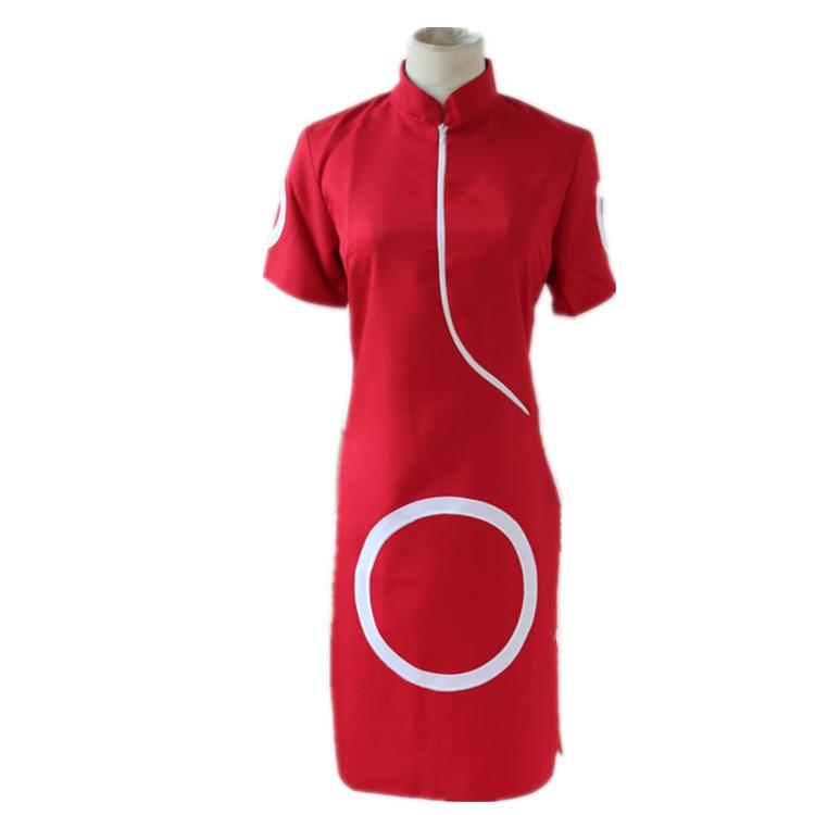 Naruto Shippuden Sakura Haruno 1 Cosplay Costume Red Dress Skirt Track Number
