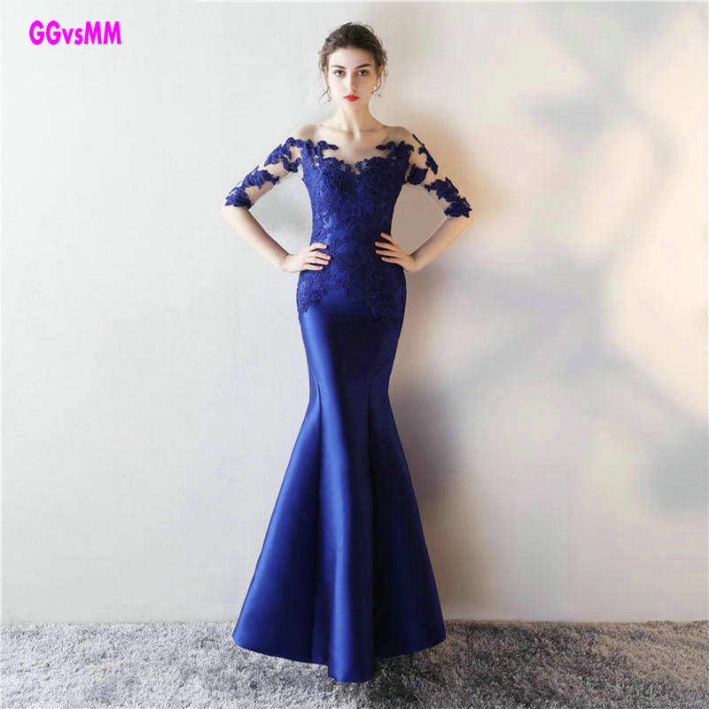 Long Sleeve   Prom     Dresses   2018 Gorgeous O-neck Top Lace Floor Length Stretch Satin Mermaid Royal Blue African   Prom     Dress