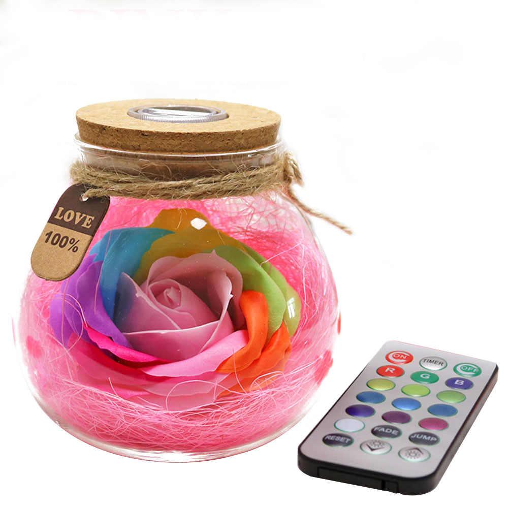 LED RGB 調光ランプ電球ローズフラワーボトルクリエイティブロマンチックなバレンタインデーのギフト 13 色リモートカラフルな電球
