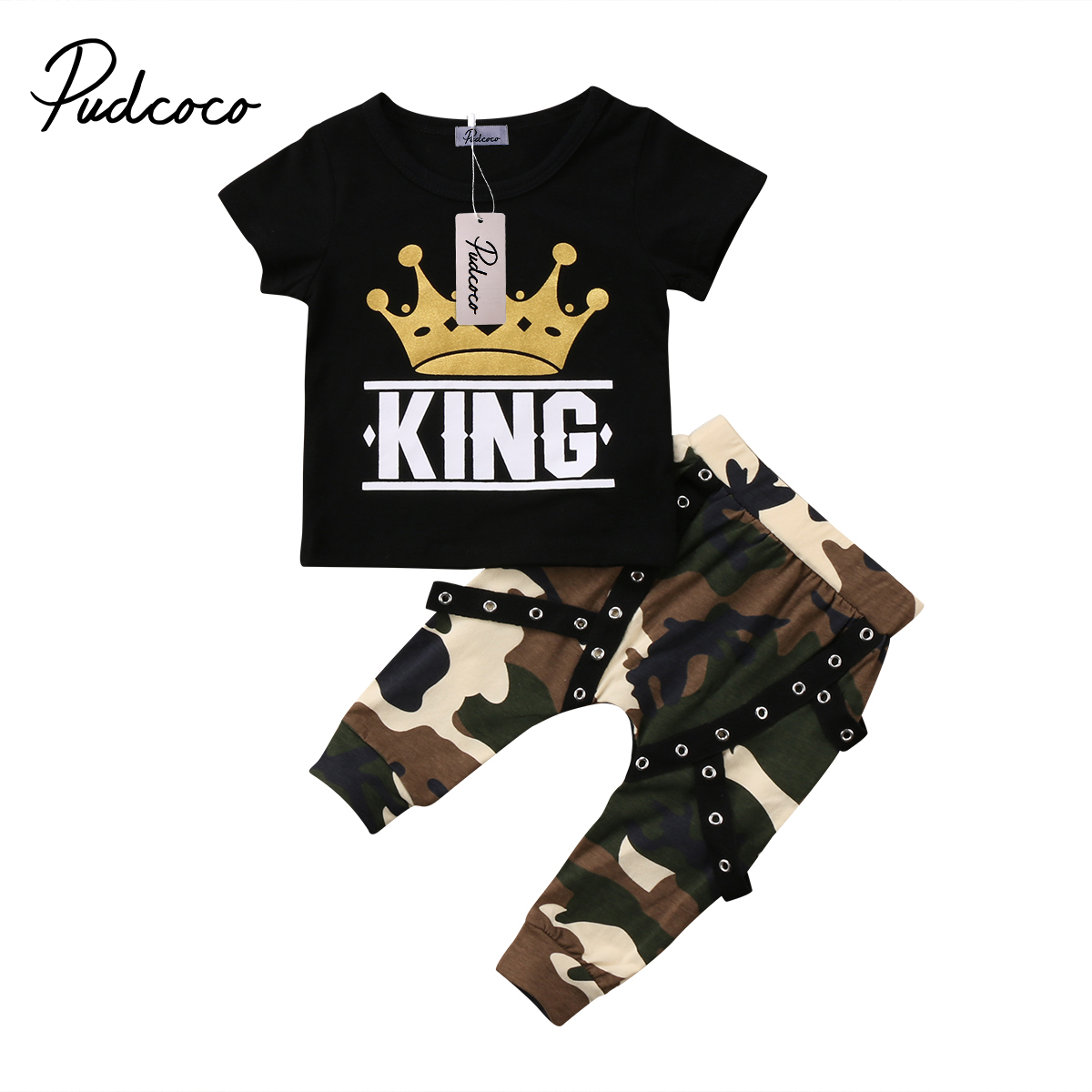 Toddler Kids Baby Boys Clothing Short Sleeve Tops Crown T-shirt Camo Pants Outfits Set Summer