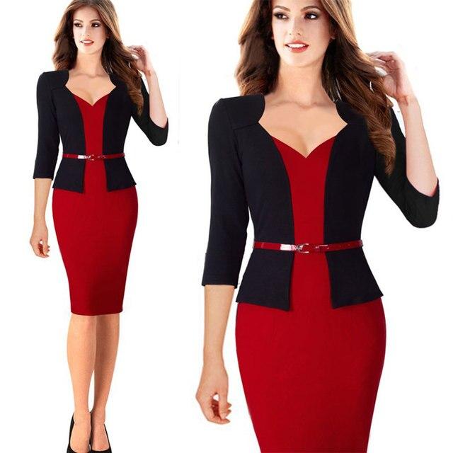 Womens Office Dress New Work Dresses 2018 Women Fashion Elegant Patchwork Business Bodycon Sashes Dress 5