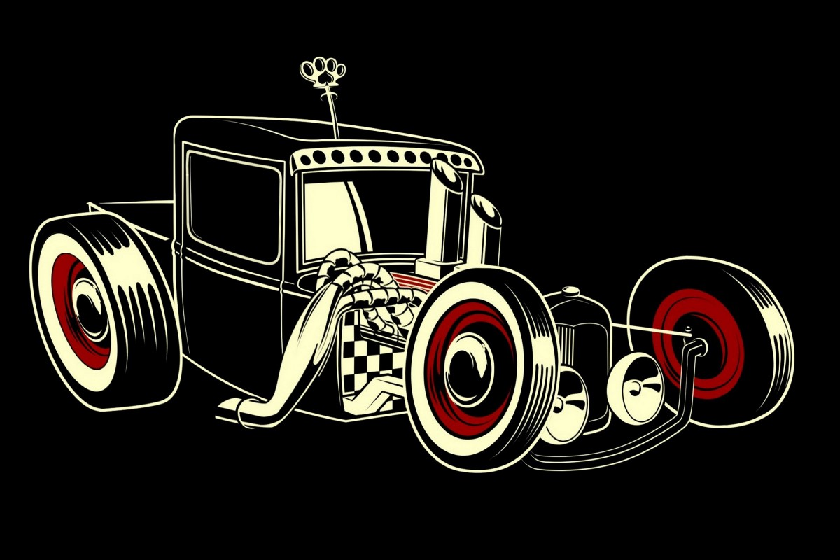 Canvas fabric Poster Print Hot Rod style black background HC079 Living Room home wall modern art decor