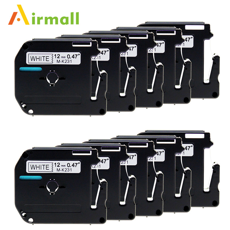 10 Pack Compatible Brother P-touch M Tape M231 MK231 Black on White Label Tape for Brother P Touch Label Maker PT-90 PT-M95
