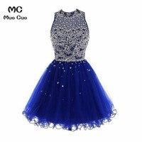 Ройер синий 2018 бальное платье Homecoming платье короткое с кристаллами выпускников Платья для выпускного спинки коктейльные платья