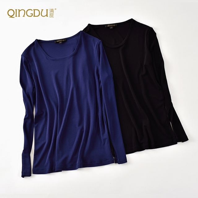 Autumn And Winter Long Sleeved T-shirt Twisting Double Knitted Silk Silk Shirt Collar Female Quality