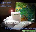 Free Shipping A4 Light Color Transmax Paper T-shirt Transfer Paper Super Soft Ultra Thin Heat Transfer Paper 100pcs/lot