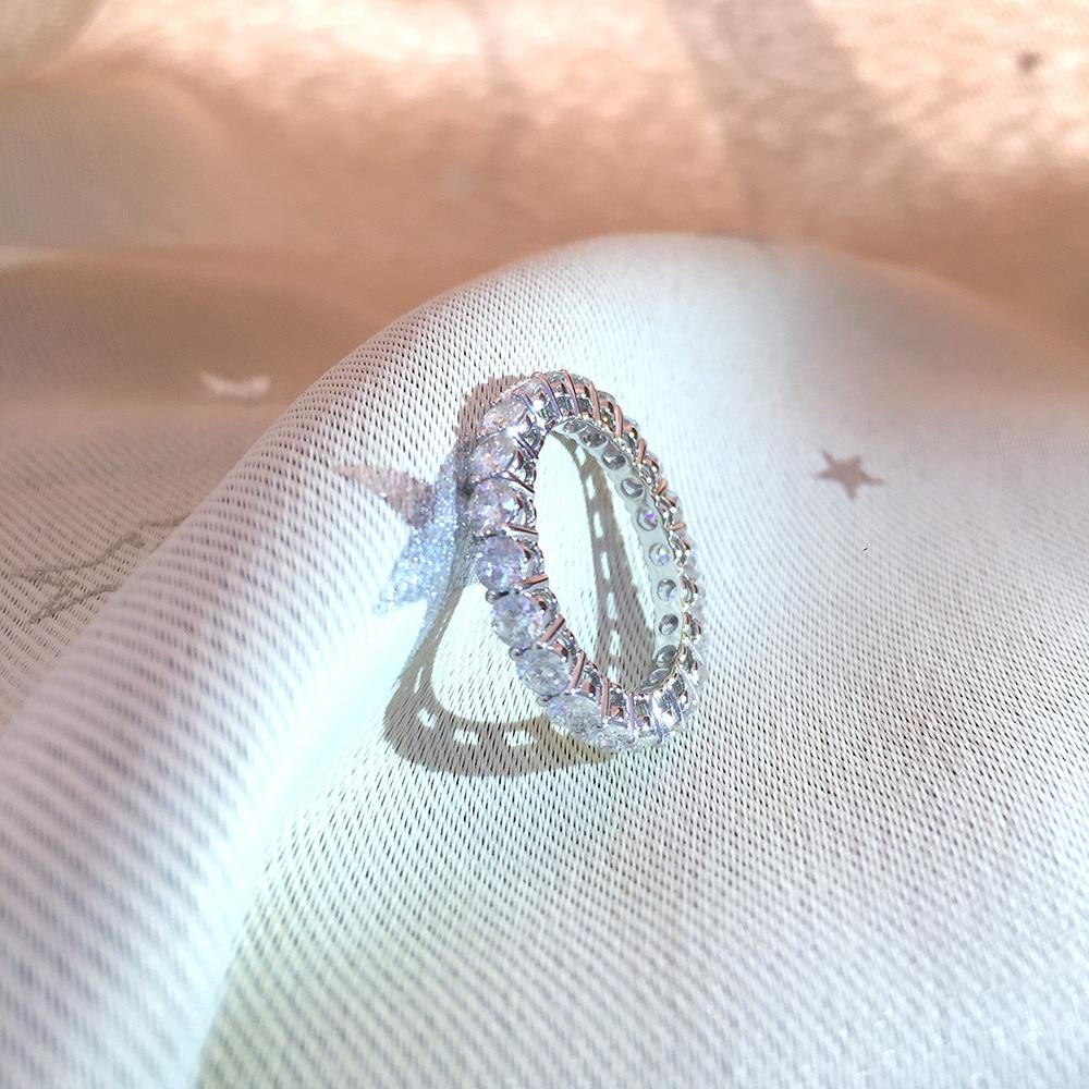 Твердое 14 к белое золото покрытое серебром 5 мм 4 мм 3 мм F цвет Муассанит Вечность Обручальное кольцо Муассанит кольцо для женщин дамское кол... - 4